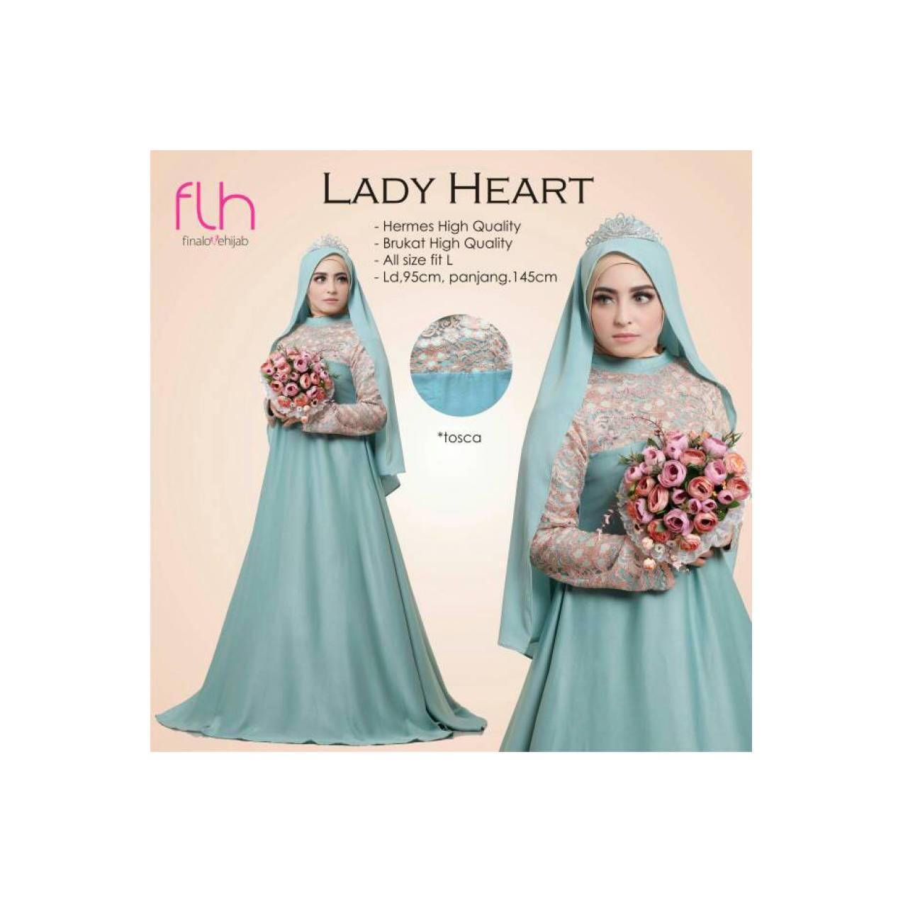 lady heart syari gamis gaun pesta pernikahan busana muslimah ori FLH