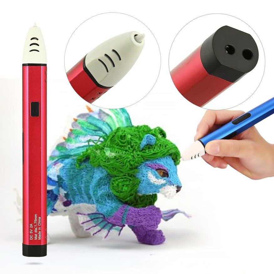 UINN 3D Printing Pen with OLED Display for 1.75mm PCL Filament Low Temperature Red US Plug
