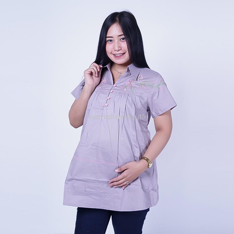 Ning Ayu Baju Hamil Kerja Bordir Rose Kelly - BLD 413   / Baju Hamil untuk kerja Lengan Panjang / Baju Hamil Seksi / Baju Hamil Gamis / Baju Menyusui Modis / Baju menyusui Murah / Baju Menyusui Terbaru / Baju Menyusui Keren