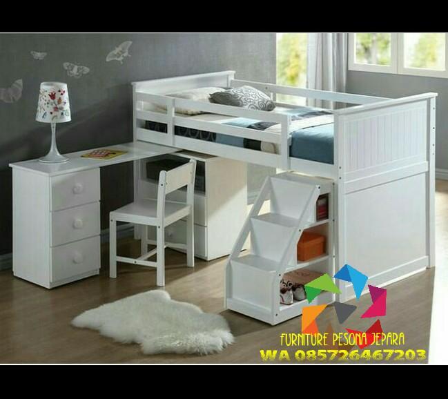 Ranjang susun set meja belajar Tempat tidur anak. PESONA JEPARA 21