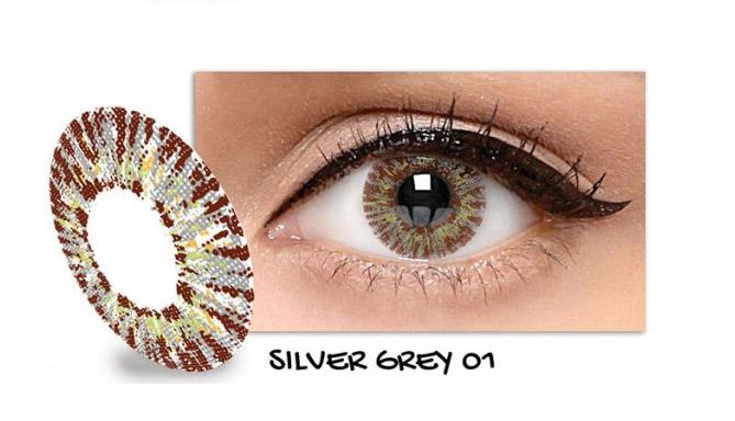 Exoticon Softlens by X2 ICE SILVER GREY 01 / NO 1- Normal Plano