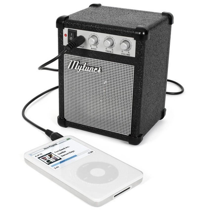 Teiton Portable Speaker MyAmp Classic Amplifier Music Guitar MP3 Player iPod iPhone Ponsel Handphone Laptop Aksesoris Musik Audio Video Unik Mirip Amplifier Gitar Adjustable Volume Treble Bass Suara Jernih Portabel Mudah Dibawa Desain Menarik - Hitam