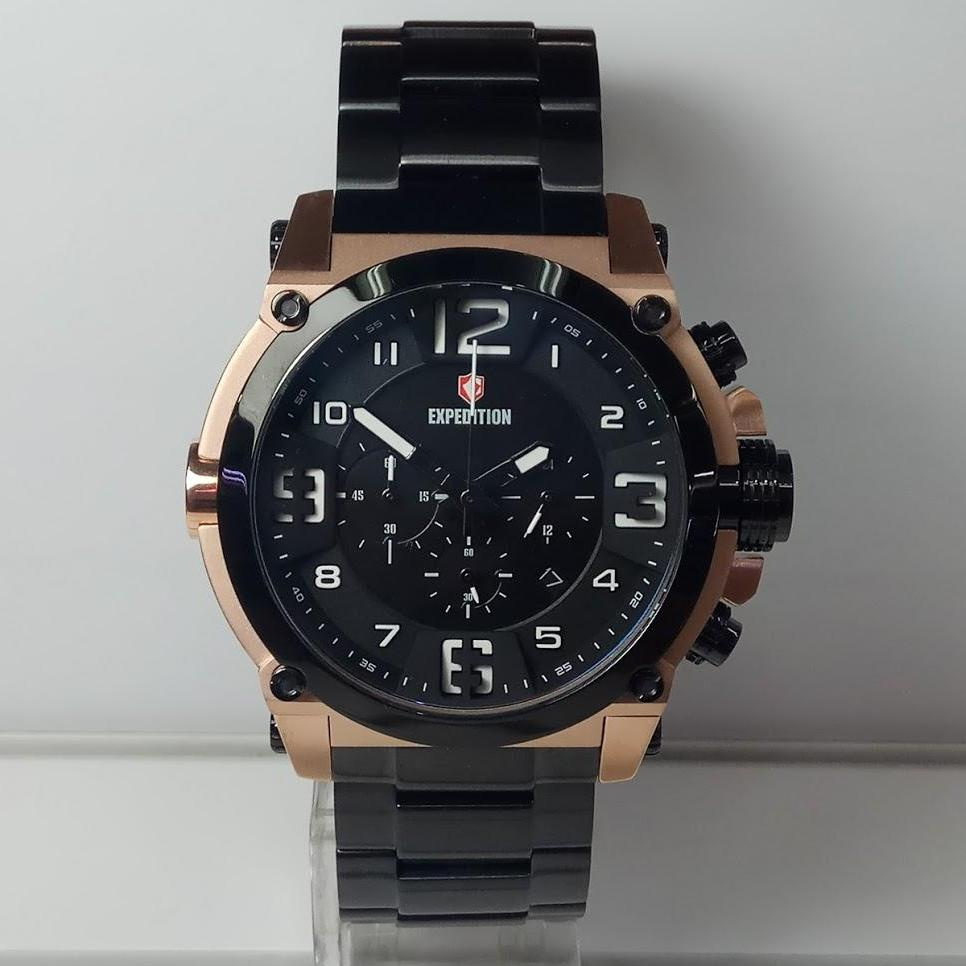 Expedition Jam Tangan Pria E6385m Chronograph Black E6392 Rose Gold Men E6605mc Rosegold Stainless Steel