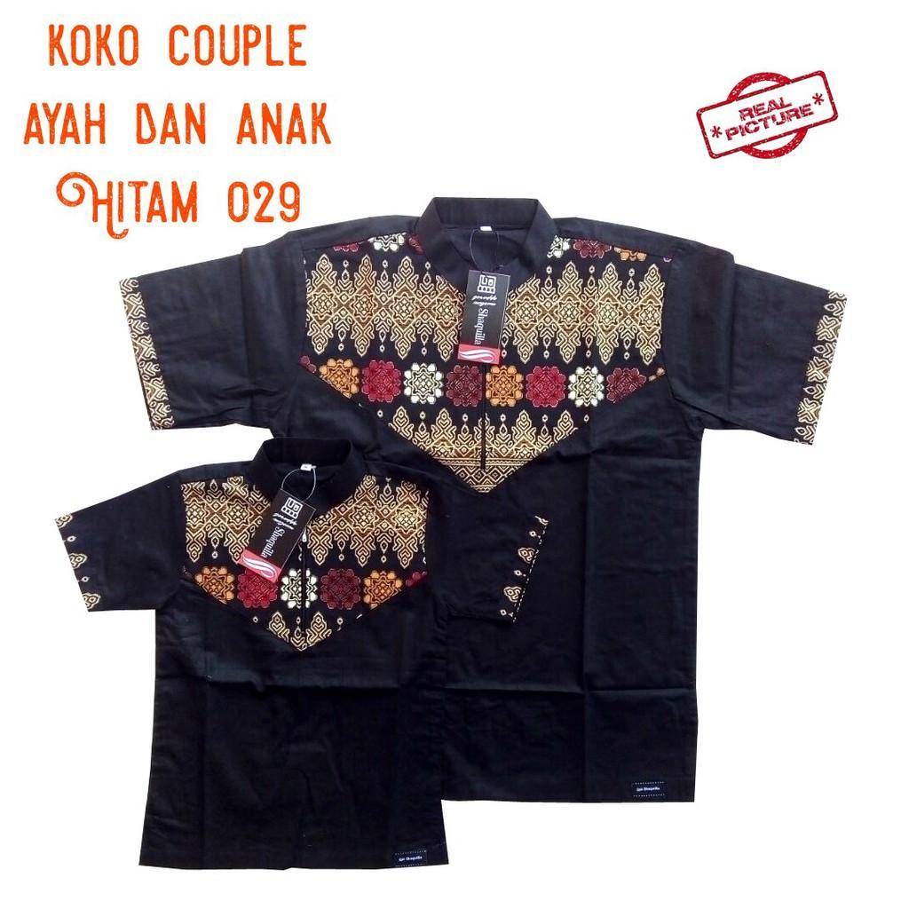 Baju koko batik couple ayah dan anak  Hitam shaquilla 029 (ANAK HITAM 029 M)