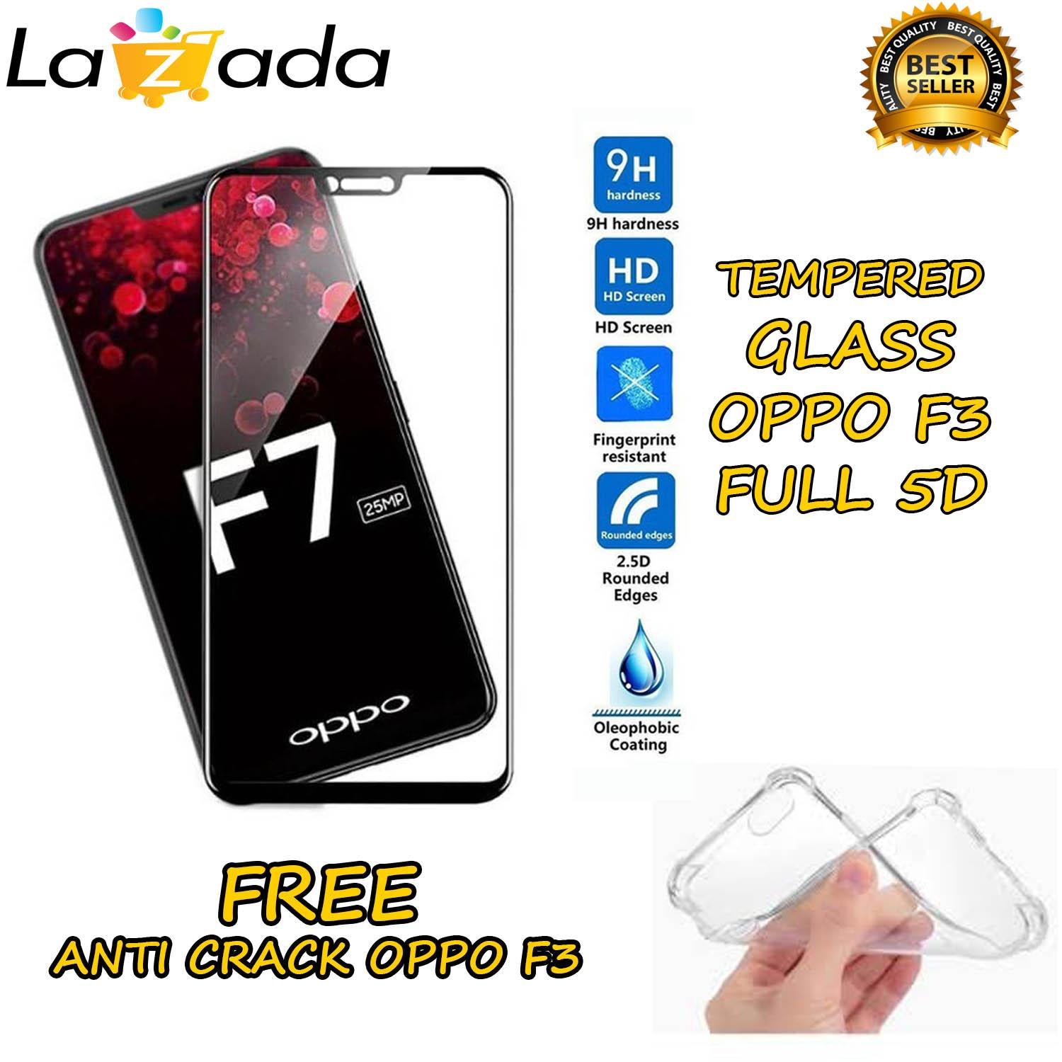 Tempered Glass 5D Full Screen Black OPPO F3 Screen Anti Gores Kaca / Screen Protection /