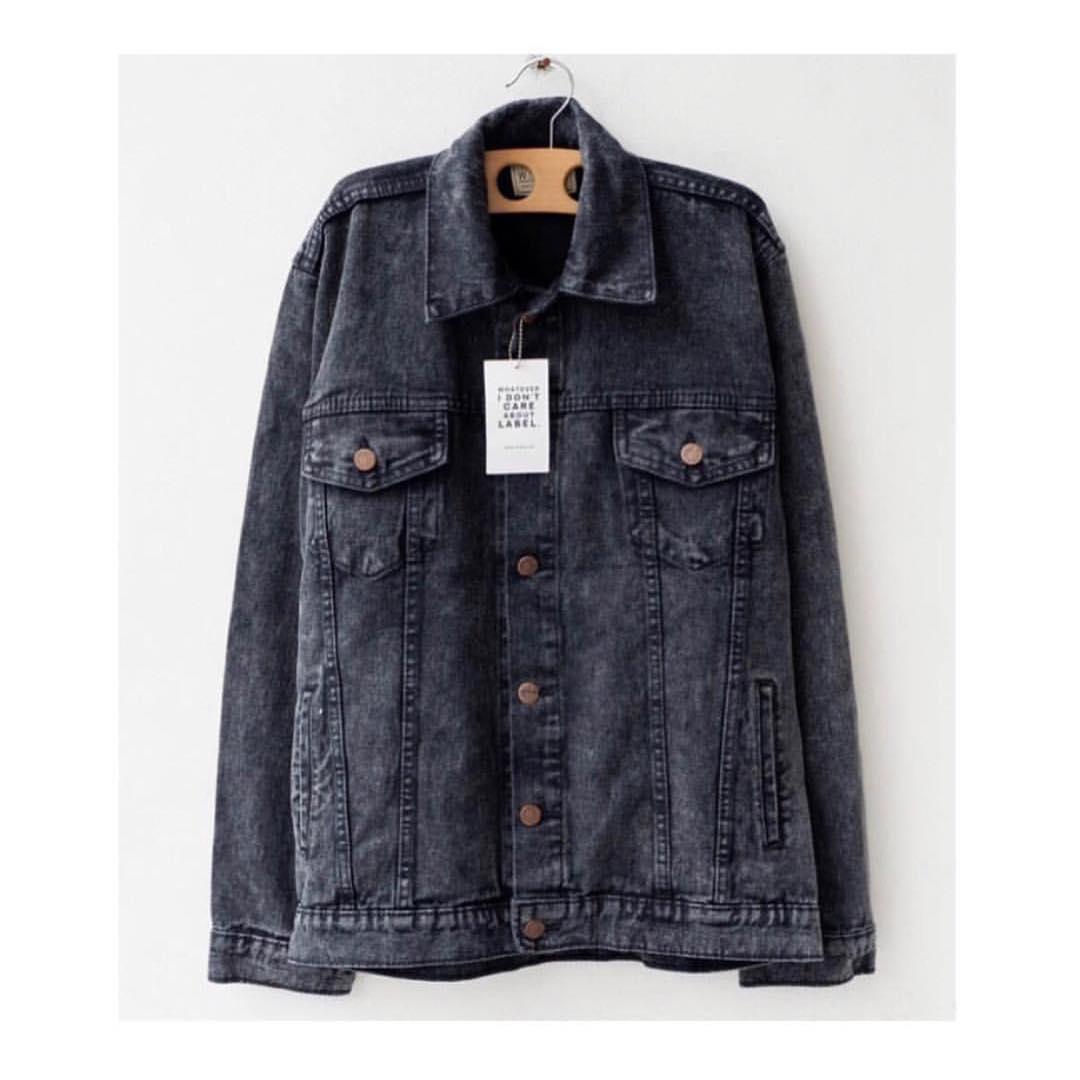 Make It Outfits - JAKET JEANS DENIM CASUAL PRIA - BLACK ACID WASH