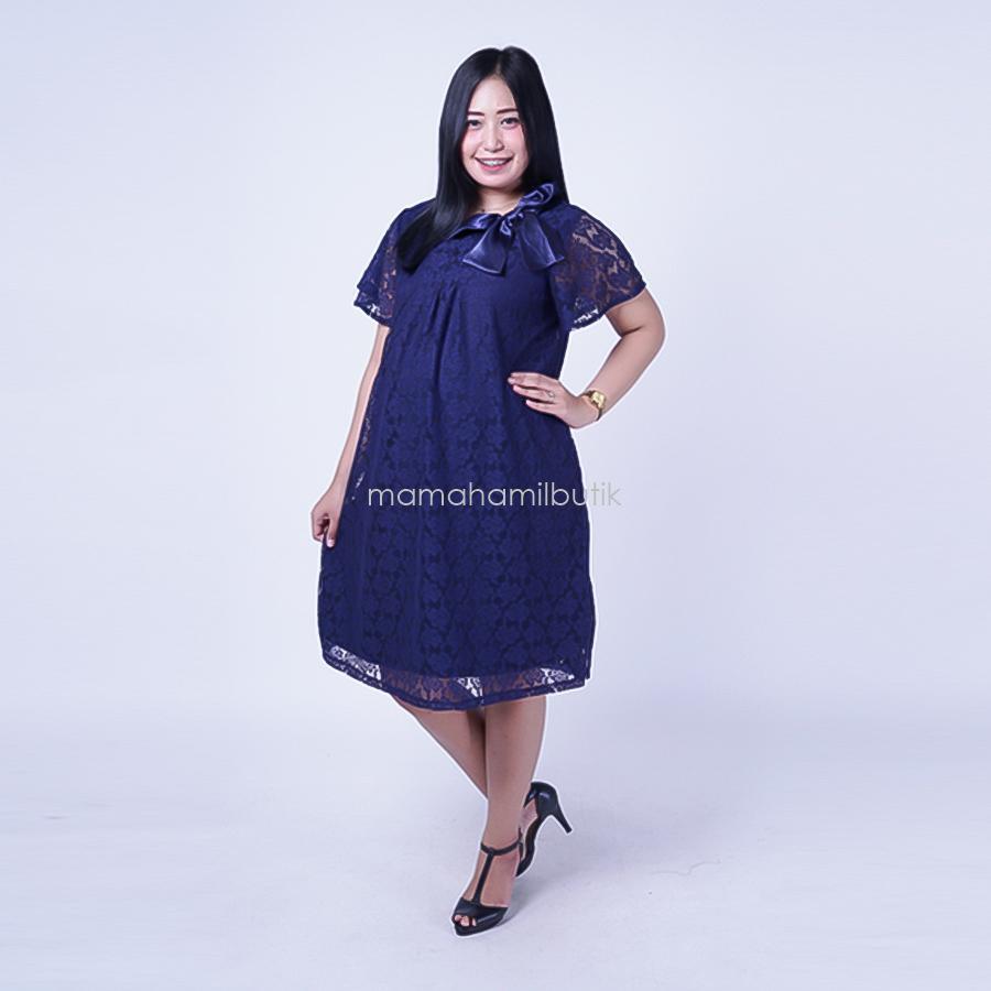 Mama Hamil Baju Hamil Dress Pesta Brokat Hitam Cantik Krah Silky Modis -  DRO 787 90522ade59