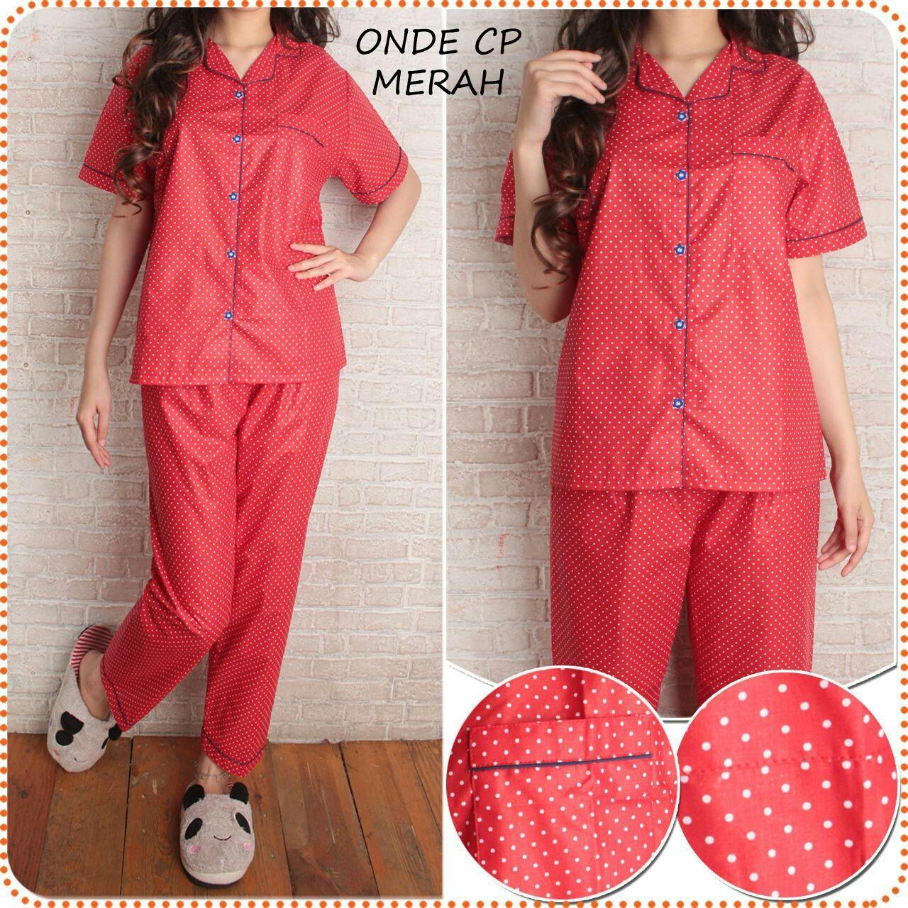 UC Baju tidur wanita Dewasa Lucu  Fashion Setelan Piyama Cewek Celana Panjang Pendek Daster (lkapo) SR – Merah Navy Hitam Pink Murah