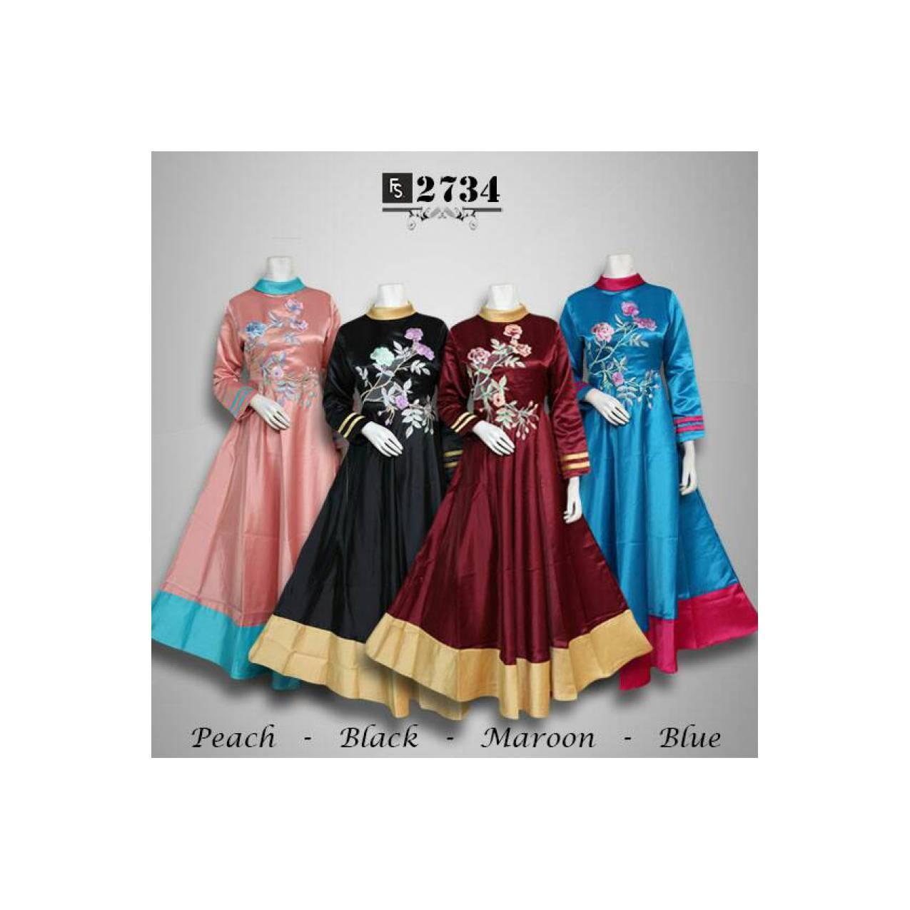 gamis batik bordir busana muslim maxi dress baju pesta abaya jubah
