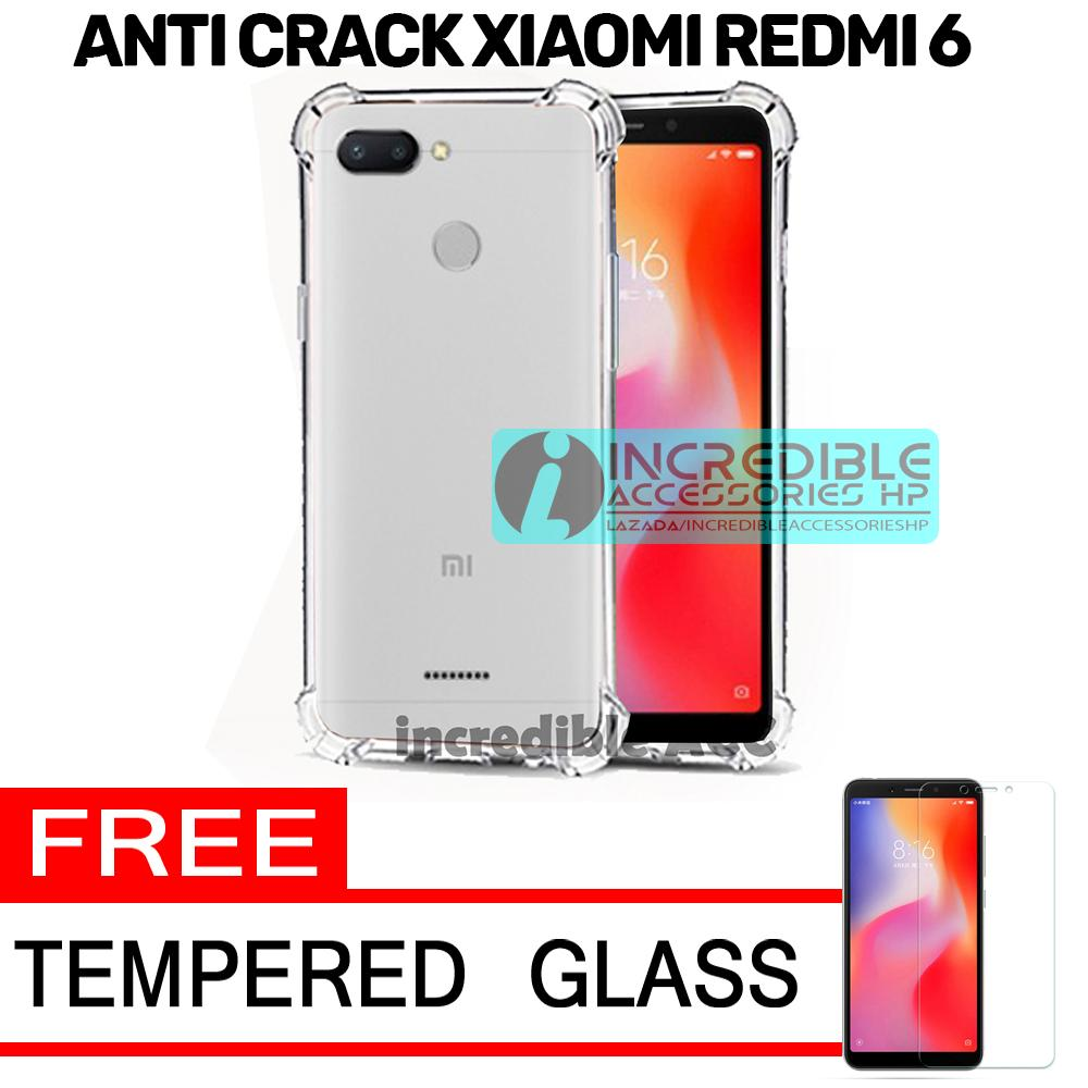 Anti Crack for Xiaomi Redmi 6 Softcase Elegant Anti Shock Jelly Case - Bening + Free Tempered Glass