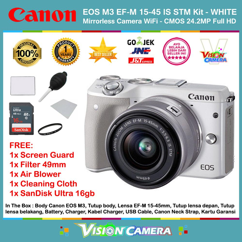 CANON EOS M3 EF-M 15-45 IS STM Kit Kamera Mirrorless M3 CMOS 24.2MP Full HD 1080p 49 AF Points (Garansi 1th) + Screen Guard + SanDisk Ultra 16gb + Filter 49mm + Air Blower + Cleaning Cloth