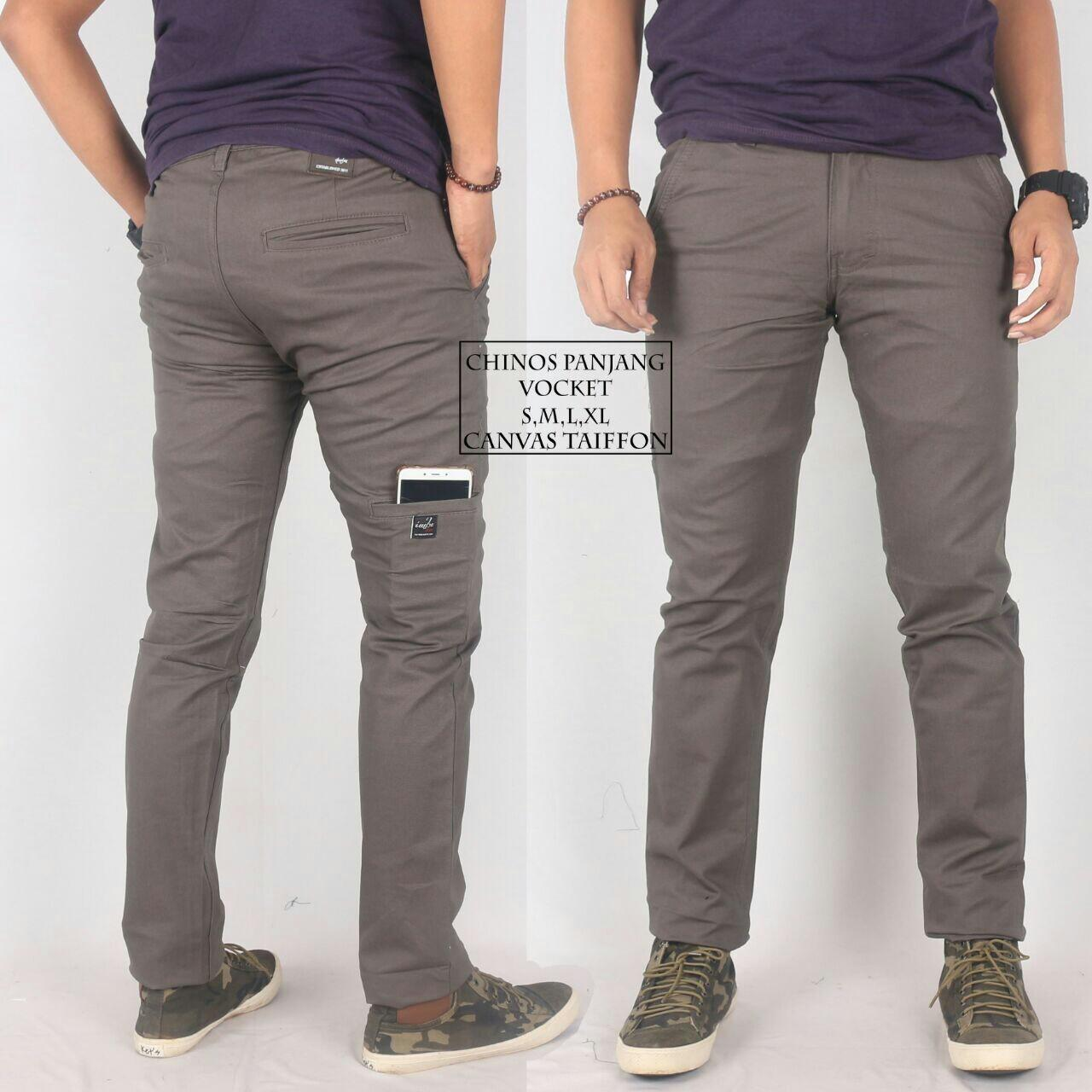 Celana Chino Pants Panjang Pria/celana Chino Pocket Cream By Biostore.