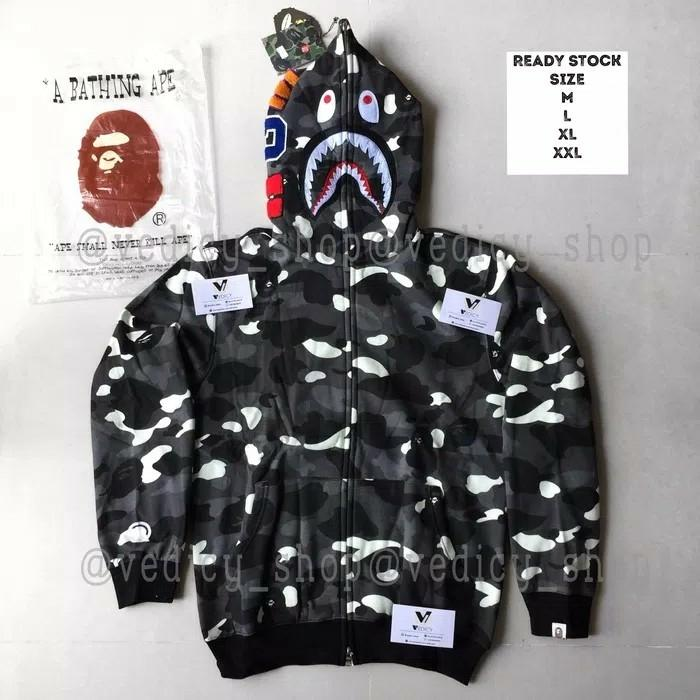 Jaket sweater Hoodie bape shark city camo glow in the dark full Zip full tag