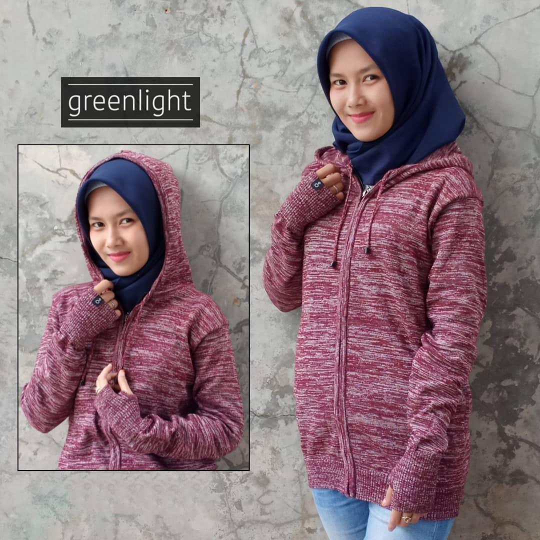 Greenlight - Jaket Sweater Hoodie Rajut Wanita Terbaru - Twotone Maroon