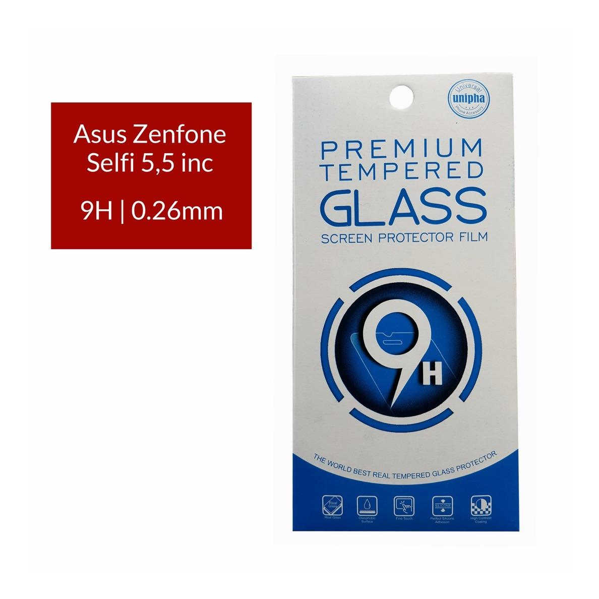 Unipha Premium Tempered Glass Screen Protector / Anti Gores Kaca ASUS Zenfone Selfi 5,5 inc  - Bening
