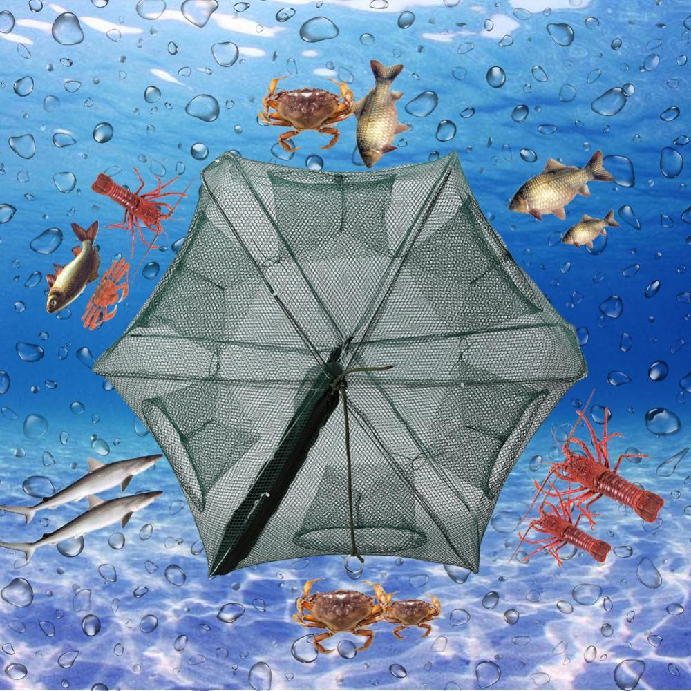 【Beli satu gratis satu!!】6 Holes Automatic Fishing Net Shrimp Nylon Foldable Trap Cast