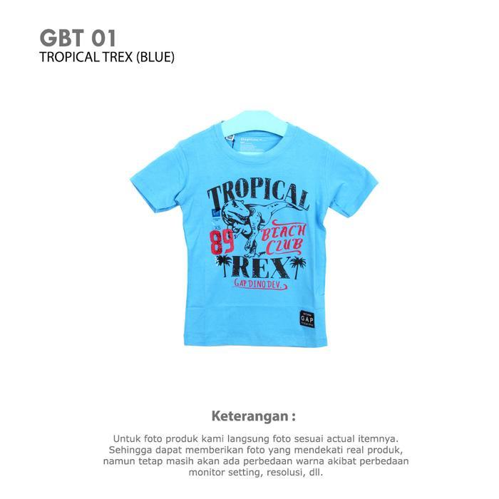 Kaos Anak Laki-Laki Atasan Anak Cowok Branded Ori Mall BOYS TROPICAL TREX Sisa Eksport Murah Nyaman Keren