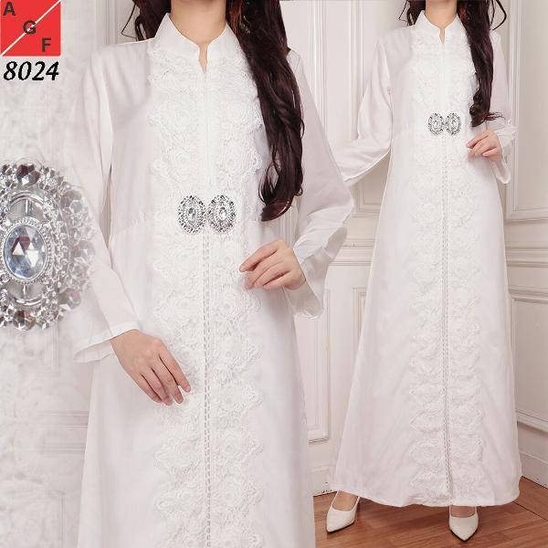 Promo Hari Ini Baju Gamis Wanita Gamis Jumbo Muslim Putih 8024 JMB Untuk Lebaran