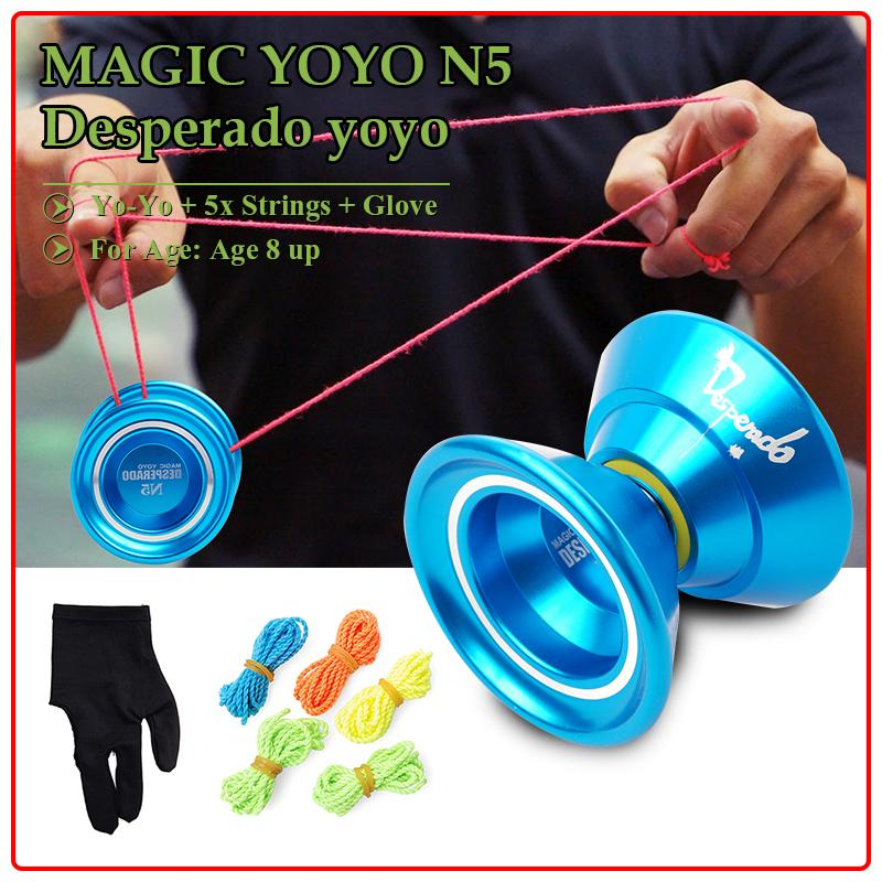 Magic YoYo N5 Desperado Aluminum Professional Yo-Yo + 5x Strings + Glove TH006
