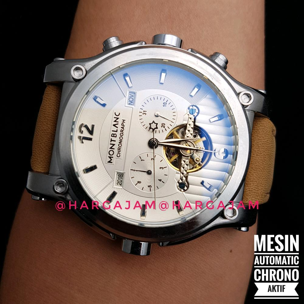 Jam Tangan Pria Automatic Montblanc Case Silver M2232 Leather Soft Brown Kulit Coklat Jam Matic
