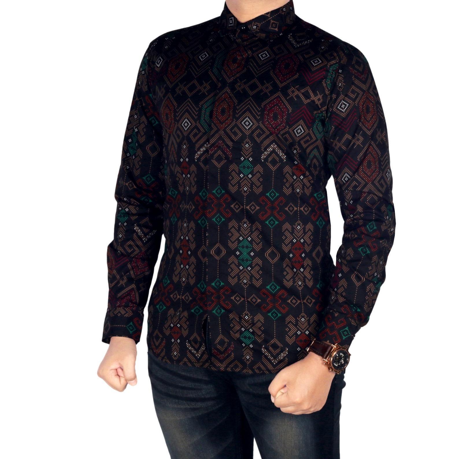 BSG_Fashion1 Kemeja Pria Lengan Panjang Batik Songket/Kemeja Songket/Kemeja Batik/Kemeja HEM/Kemeja Motif/Kemeja Polos/Kemeja Casual/Kemeja Kantoran/Kemeja Pantai/Kemeja Jeans PN 5506
