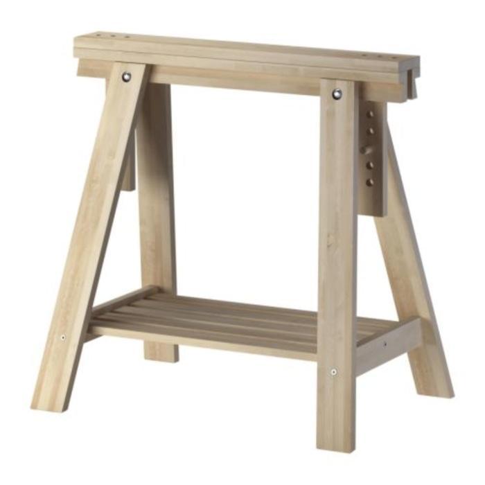IKEA FINNVARD Penyangga Meja 70x71 93 cm, kayu birch solid