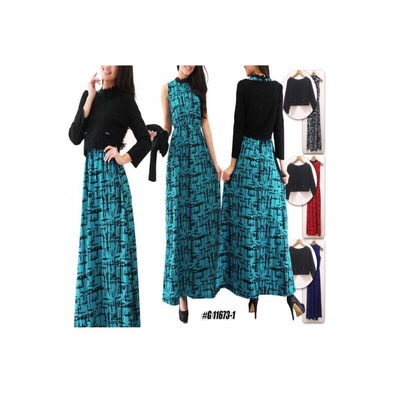 Best Gamis Maxi Zaskia / Gamis Renda / Dress / Busana Muslim / Brukat