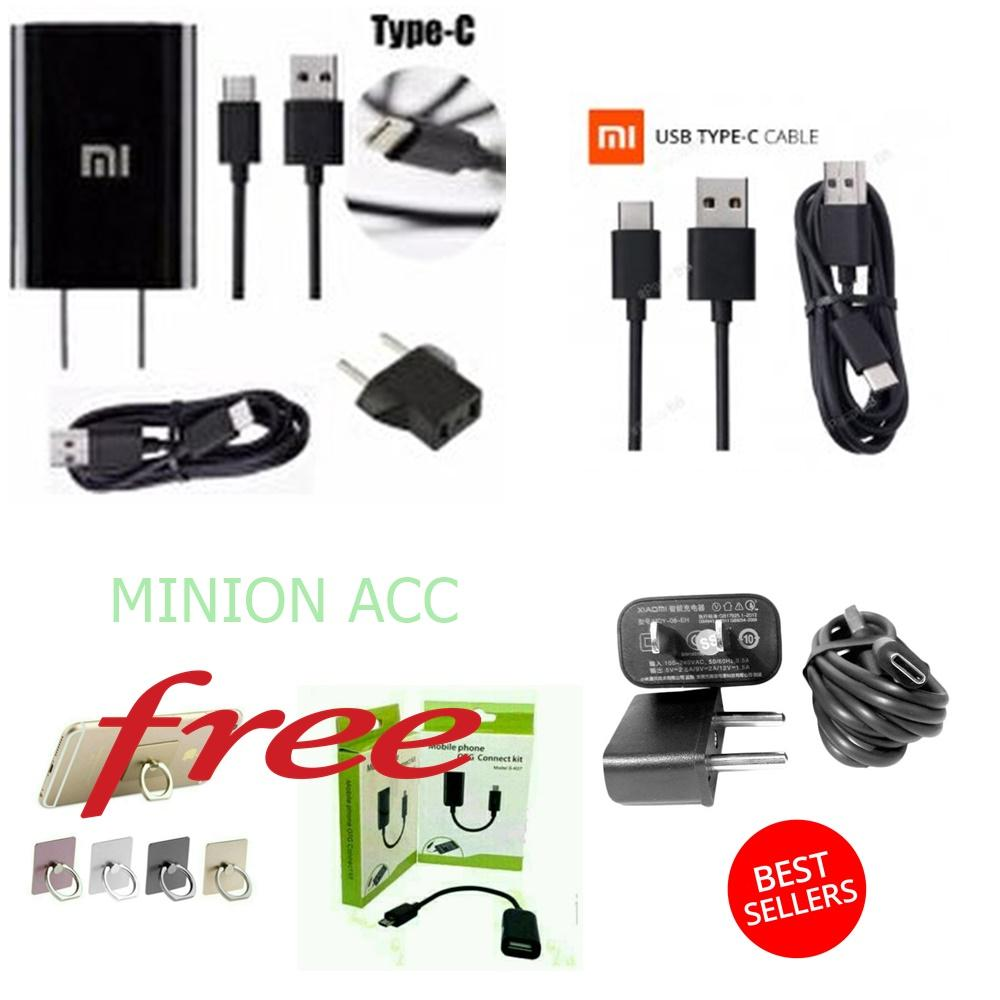 Xiaomi Travel Charger Model MDY-03-EC Type C Fast Charging For Mi4C Mi5 + Kabel Data OTG + RING HP Warna Random