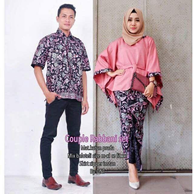 TERMURAH - Batik Couple / Couple Batik / Batik Sarimbit Rabbani Pink