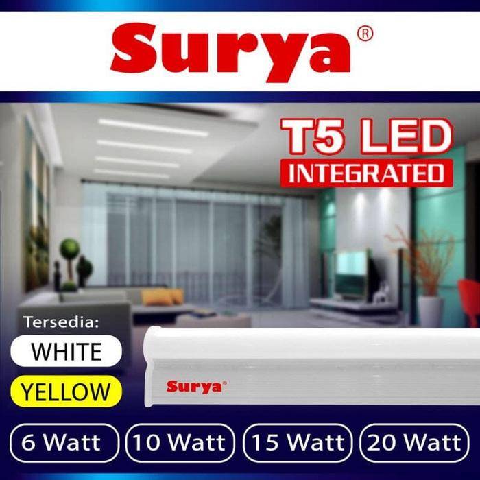Lampu Set neon tube 10 watt cahaya WarmWhite TL T5 LED 57cm Merk SURYA