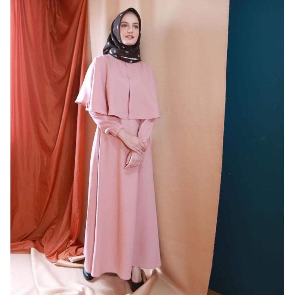 baju gamis combi cape RAMADHAN CAPE busana muslimah remaja (pink)