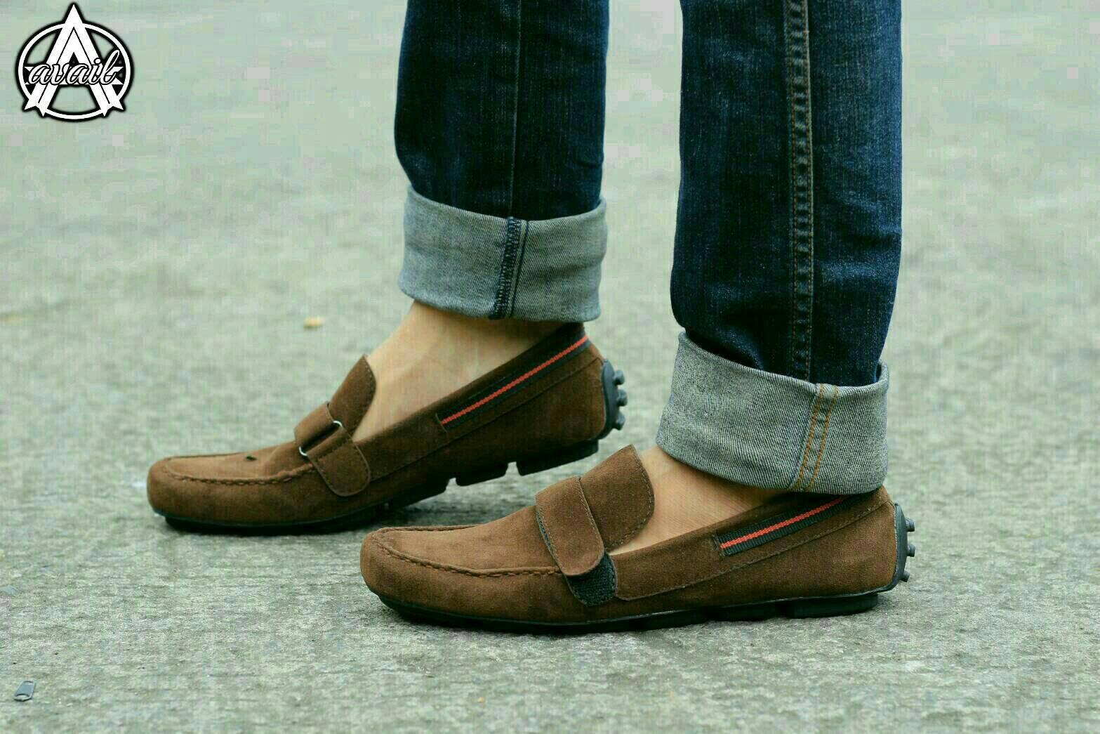 sepatu pria kulit avail everbest original - sepatu casual slip on slop mocasin pria