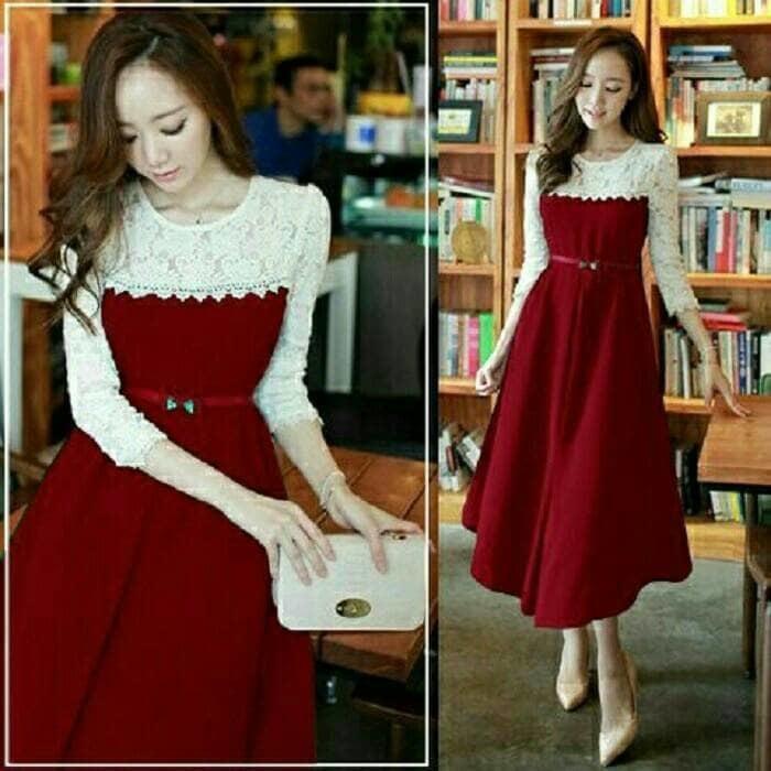 Dress Panjang Brukat / Dress White Brokat Red Christmas Kory Vintage