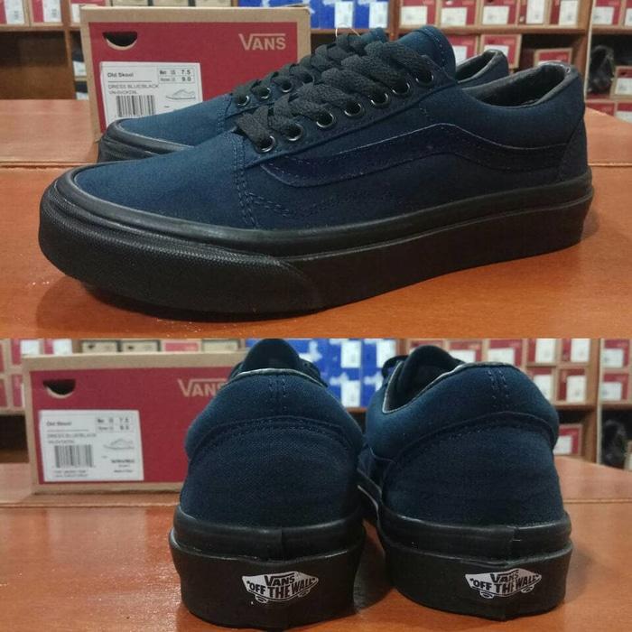 Ready Stock !! Sepatu Vans Oldskool Dress Navy Blue Biru Dongker Sole Black Hitam - ready stock