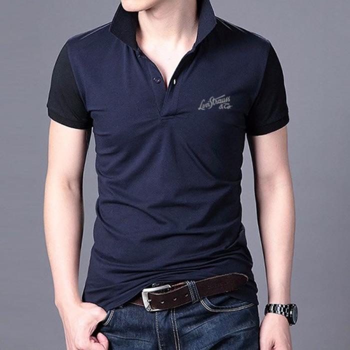 Kaos Polo Shirt Levis Kerah Golf Lacoste Premium Royal Navy