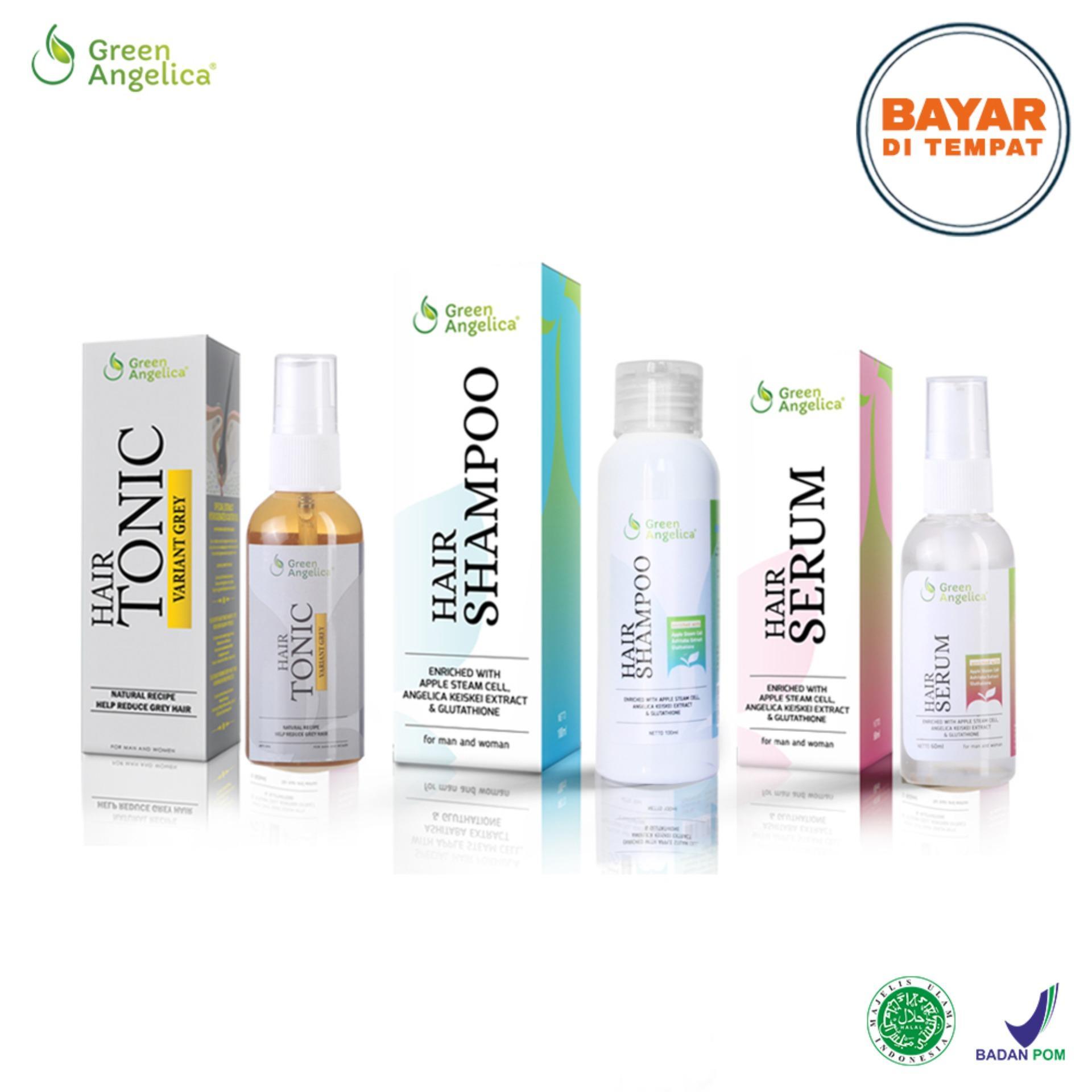 Paket Obat Penghitam Uban / Penghilang Uban Maksimal ( Hair Tonic Variant Grey , Hair Serum , Hair Shampo ) Original 100% *FREE POUCH* Green Angelica