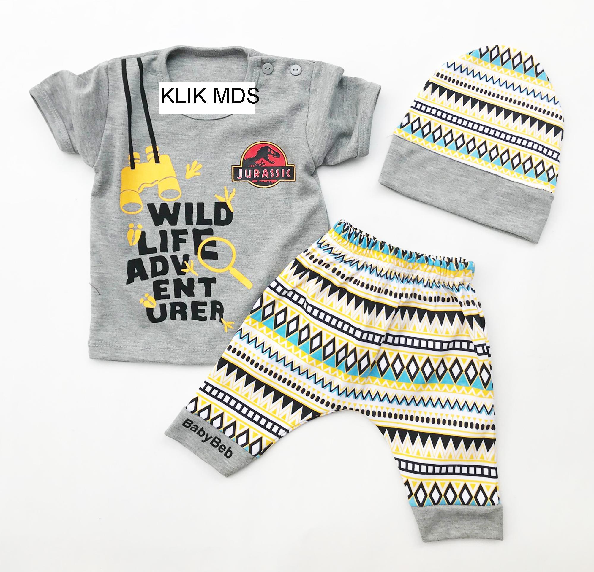 Klik Mds Baju Anak Bayi Setelan Atasan dan Celana Motif Karakter Jurasic Park Bricks - free topi