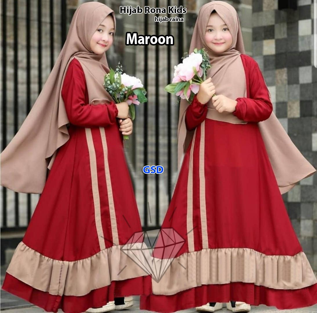 Hijab Rona Kids/maxi Dress Bergo Anak/dress Gamis Syari Anak/maxi Muslim Syari Anak/baju Muslim Anak Murah/busana Muslim Anak By Baju Perempuan Shop.