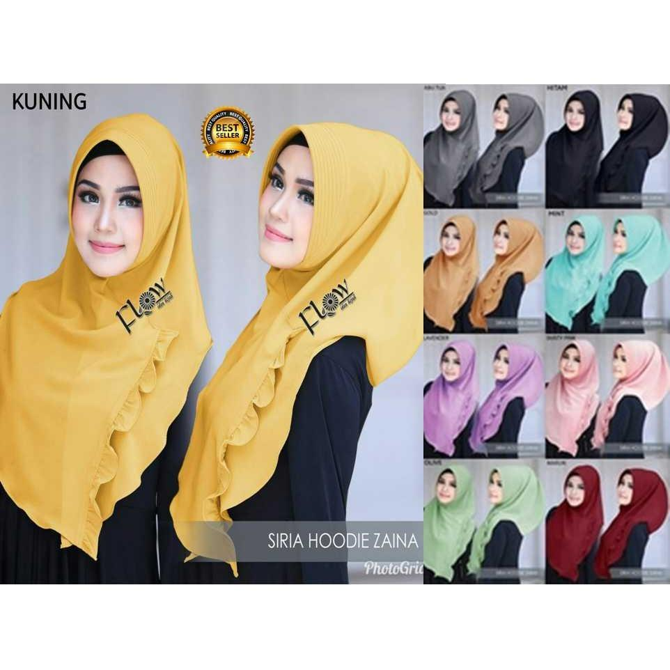 Premium Jilbab Kerudung Instant Syari (Jilbab Syar'i) Hijab Instan Khimar Bergo Siria Hoodie Zaina Toko Berkah Online