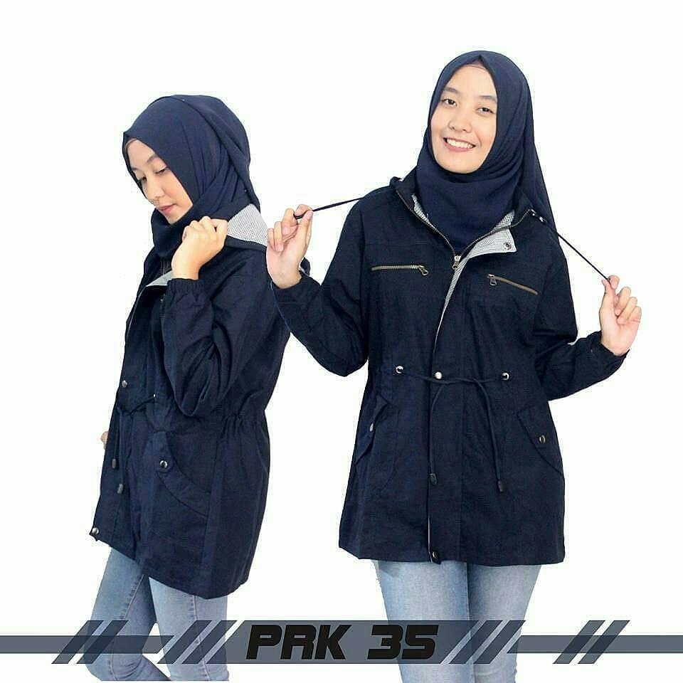 Baju Muslim  Original Jaket Justine Parka Jacket Wanita Modern Simple Atasan Wanita Casual Modern Trendy Terbaru 2018