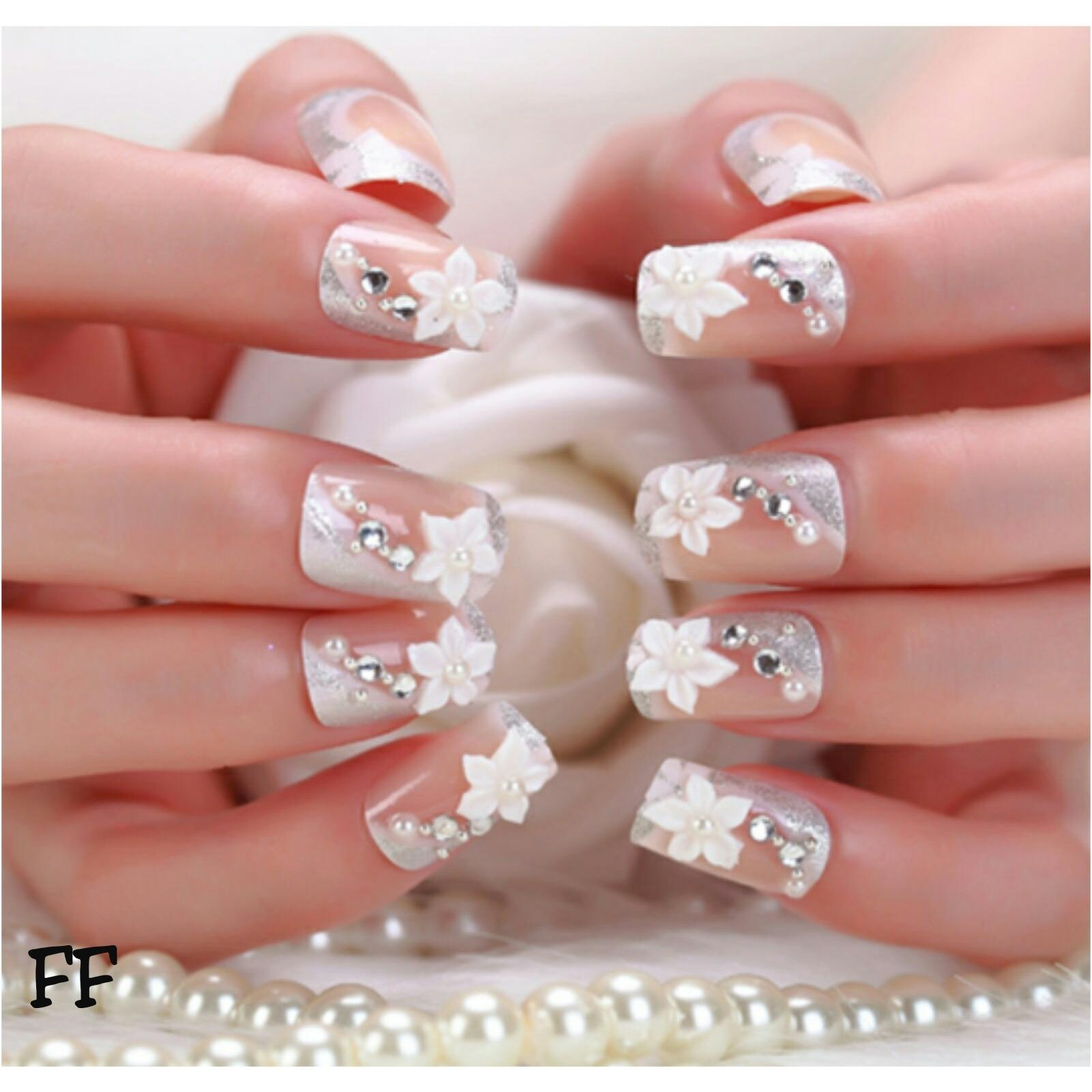 24 Buah French Nail Art Kuku Palsu Akrilik Tips Lengkap Berwarna Jbs Nails Wedding 3d A41 Ff Fake Pernikahan Aksesoris Hiasan Pengantin