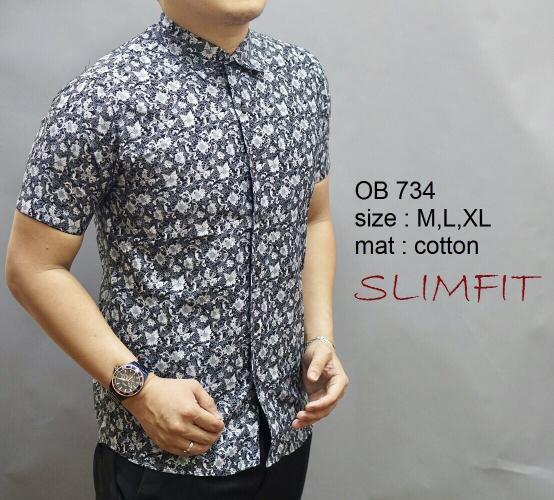 Baju Kemeja Baju Batik Model Terbaru Slimfit Tangan Pendek Pria OB 734
