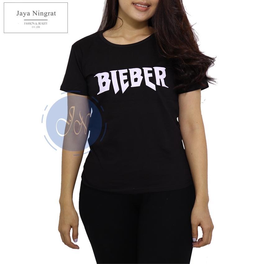 Jaya Ningrat T-Shirt Wanita BIEBER Tumblr Baju wanita Kaos wanita Kaos remaja terkini Kaos distro Kaos wanita lengan pendek - Hitam