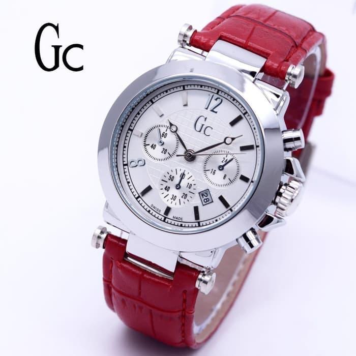 Jam Tangan Wanita GC Guess Collection Date Kulit Body Silver - Putih