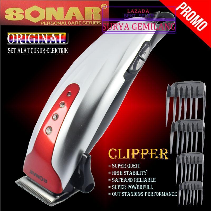 Sonar SN-102 Merah Alat Cukur Rambut Clipper pemangkas rambut profesional Gunting rambut Elektrik