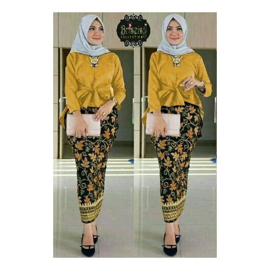 Honeyclothing Setelan Kebaya Wanita Bilqes - Mustard / Kebaya Kutubaru / Setelan Batik / Baju Wanita / Best Seller