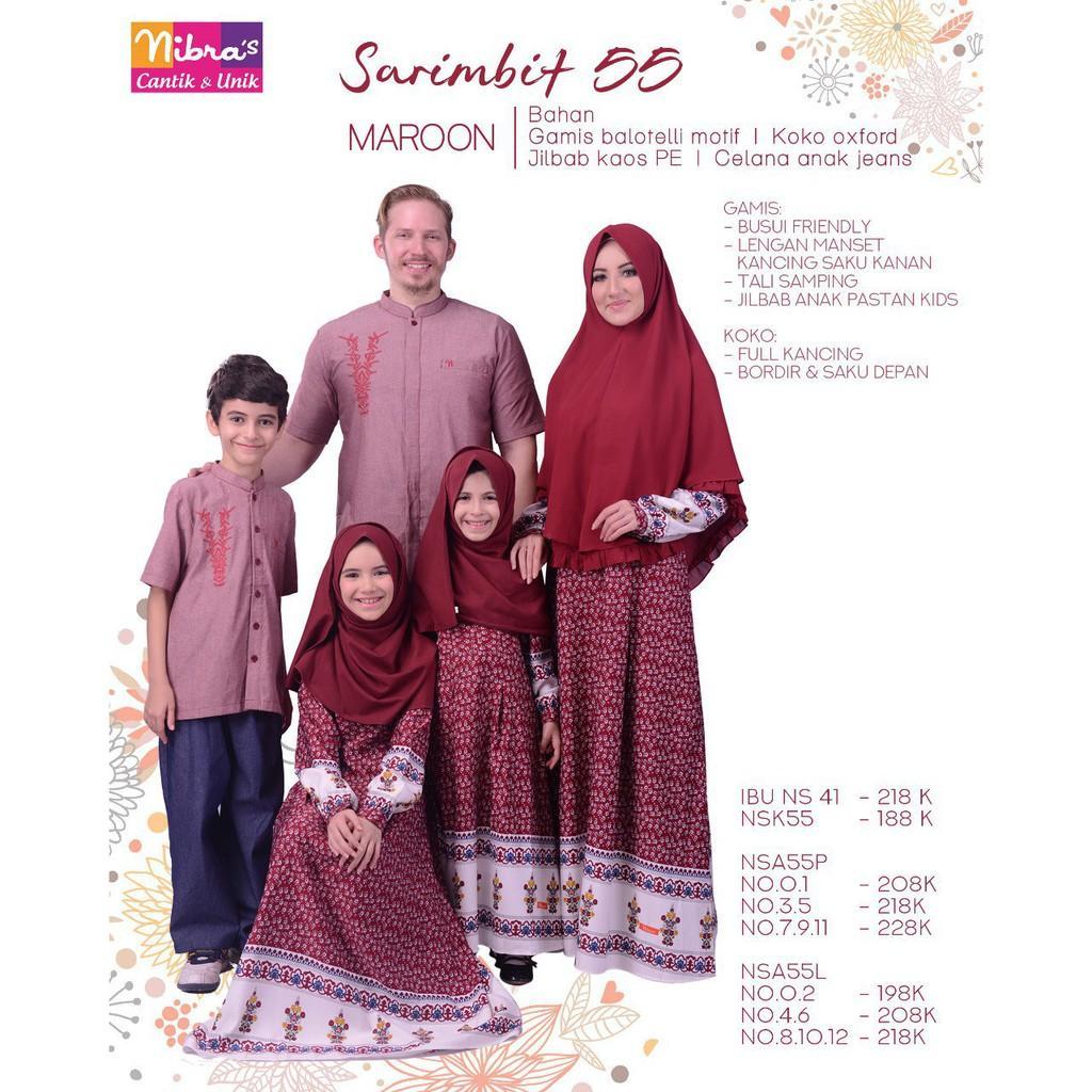 (TERBARU) Baju Sarimbit Keluarga Muslim, BUsana Couple Ayah Ibu Anak NIbras Marron (Gamis Anak 7-9-11)