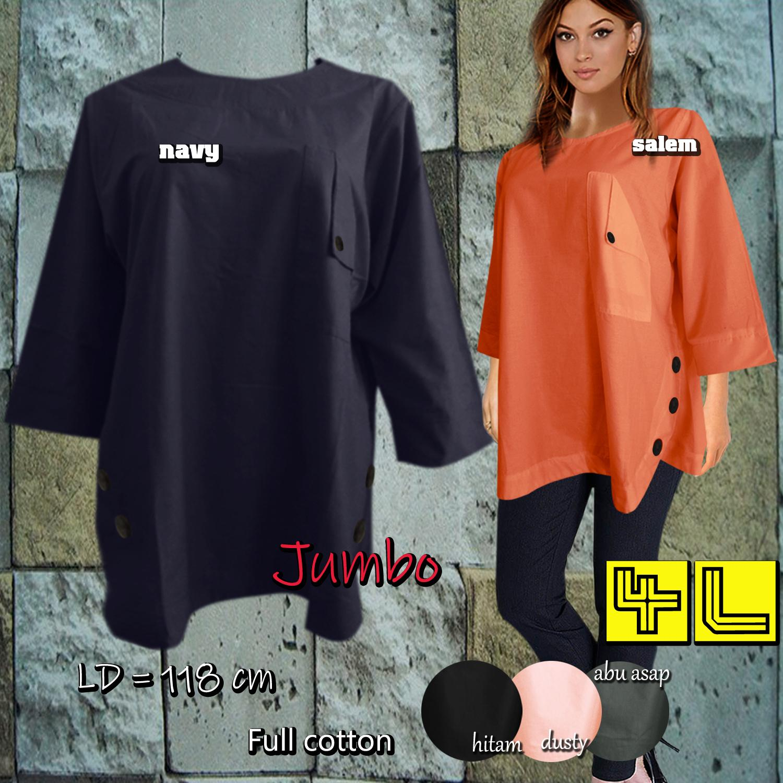 F&G Baju Atasan Wanita / Blouse Wanita / Atasan Wanita Oval Batok Minimalis - Jumbo 4L