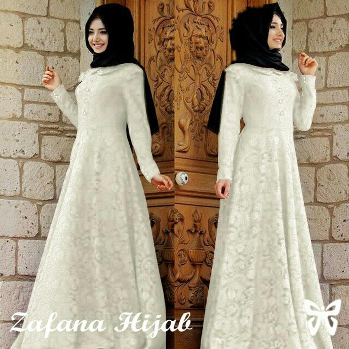 Gamis Zafana Putih Pakaian Pesta Baju Muslim Hijab Modis