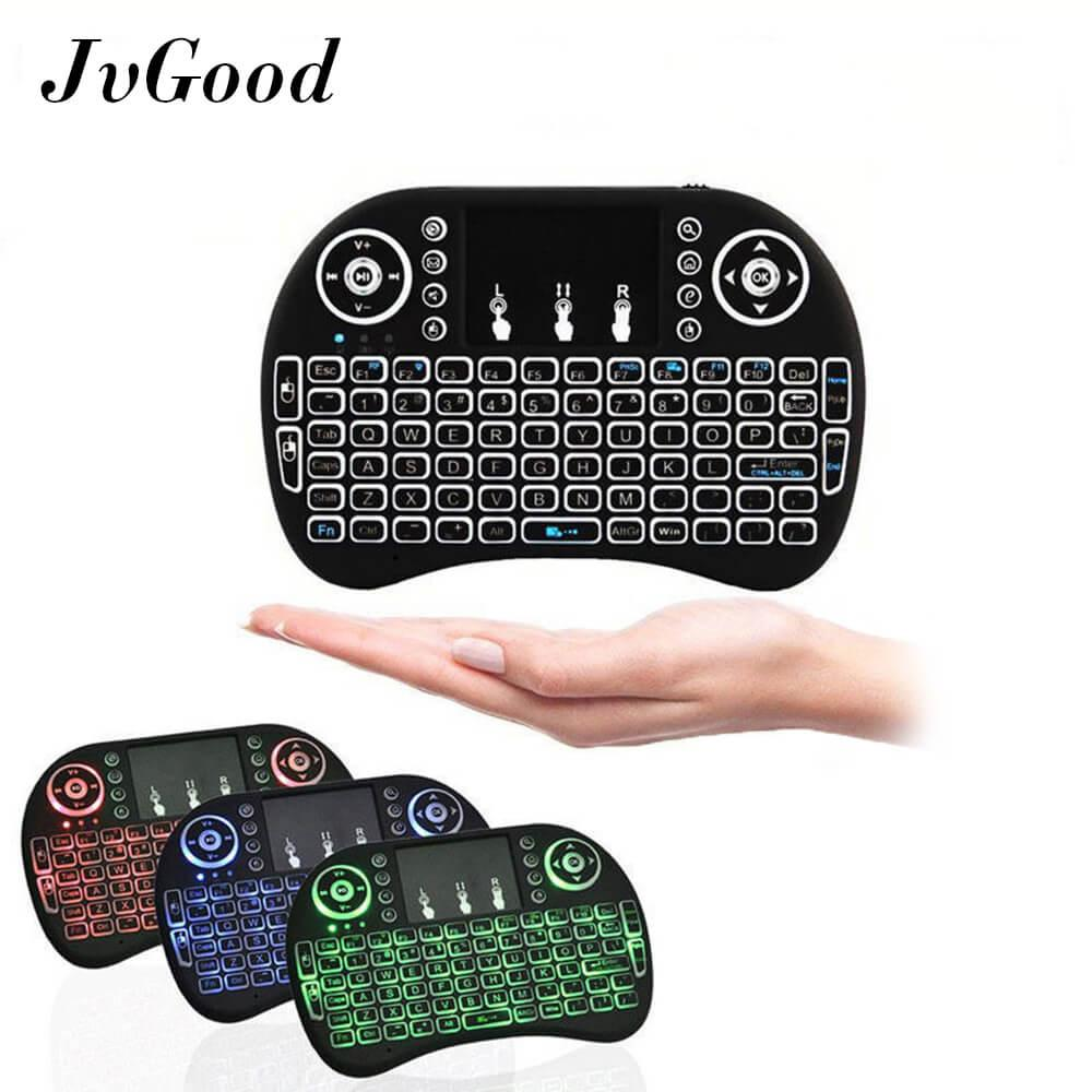 JvGood Touchpad untuk Backlit 2.4 GHz Mini Nirkabel Touchpad Keyboard Udara Mouse Handheld Remote Control Mouse Game Mice Backlight untuk Android TV BOX PC Smart TV Black